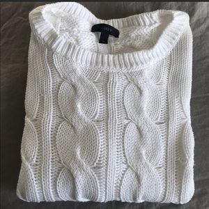 J.Crew White Cable Knit Sweater, XS